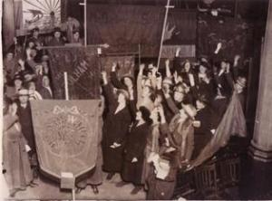 National Union of Women Teachers members standing in front of campaign banners, ref UWT/G/2/54 ©Institute of Education Archives