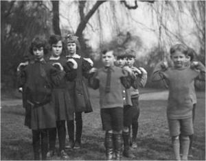 Students practise military style drills in P.E. class C1914 Lilian Flora Best Archive Collection